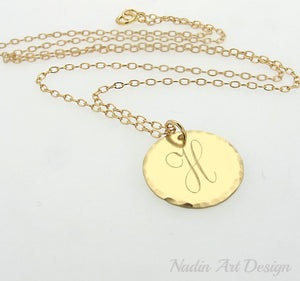 Initial tag gold necklace
