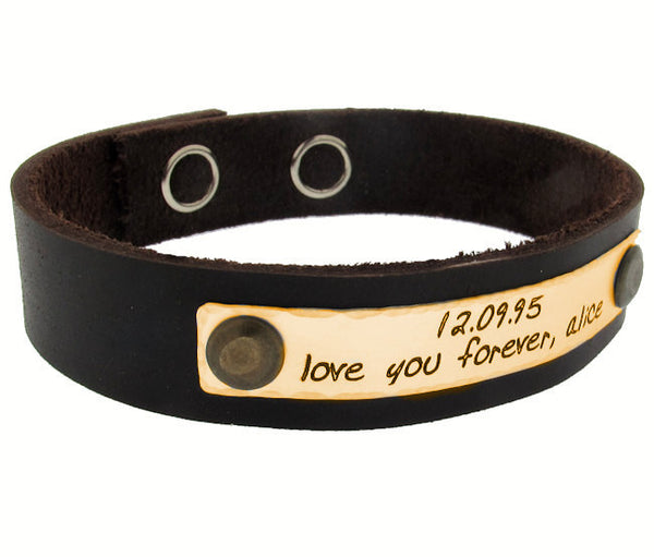 19f102e46e3cd Personalized Leather Bracelet, Custom Engraved Text Cuff