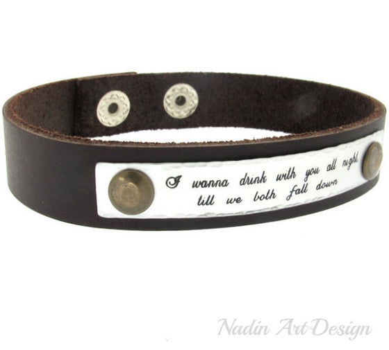 Quote engraved leather cuff bracelet