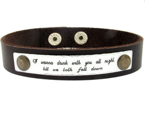 Quote Leather Bracelet - Mens Wristband