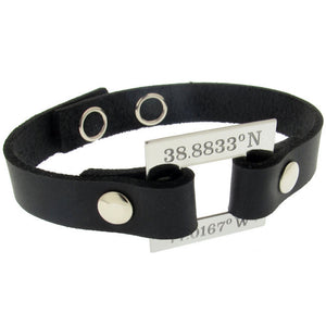 Latitude Longitude Bracelet - Personalized Leather Cuff
