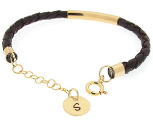 Personalized Initial Charm Braided Bracelet