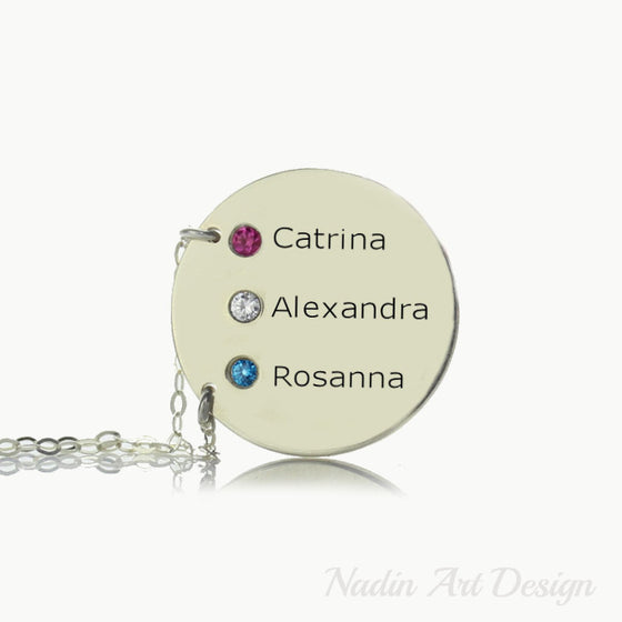 Names personalized birthstone necklace