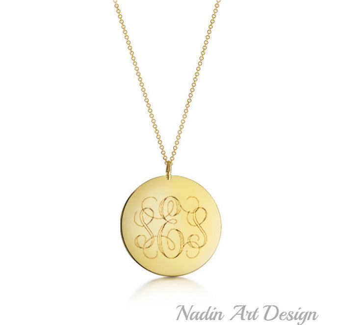 Monogram gold necklace personalized gift round initial pendant monogram gold necklace personalized gift mozeypictures Gallery