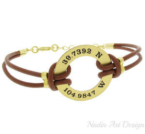 Custom washer mens leather bracelet - GPS engraved Bracelet in Gold for men