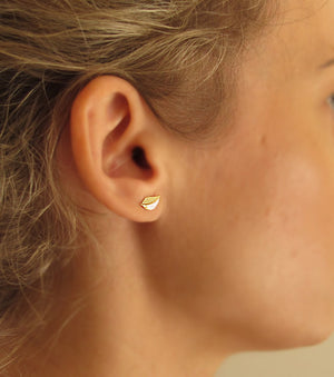 Gold Filled Leaves Stud Earrings