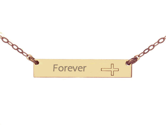Cross name engraved necklace