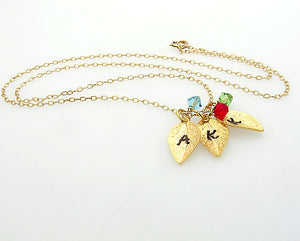 Initial Leaf Necklace with Birthstone Charms