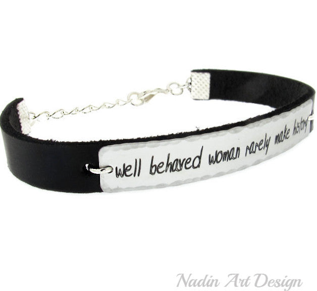 personalized engraved leather bracelet for women custom womens