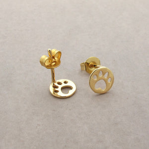 Dog Paw Tiny Gold Stud Earrings