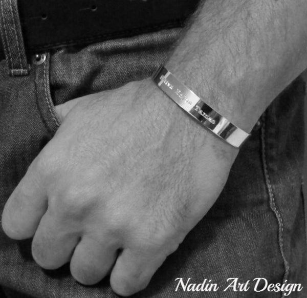 Custom Engraved Text Cuff For Men Personalized Silver Bracelet