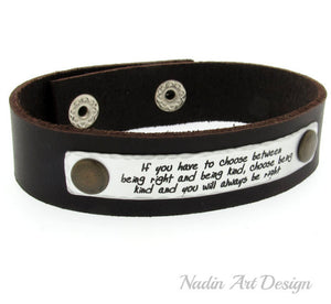 Quote leather bracelet