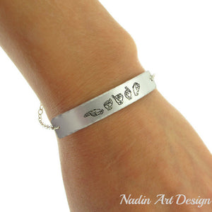 Deaf Mute Sign Language Engraved Bracelet