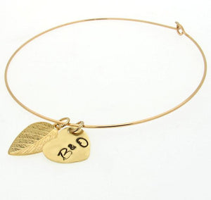 gold bangle bracelet with heart charm - leaf dangle gold bangle - initials bangle bracelet
