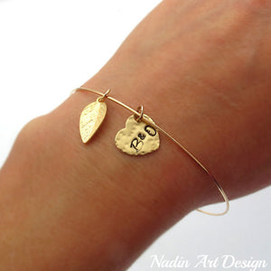 Leaf and Heart Bangle bracelet