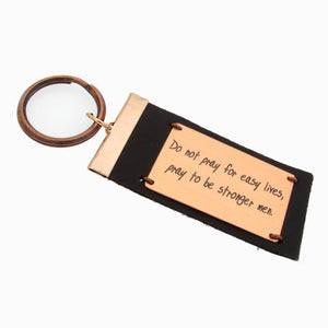 Leather Quote Key Chain
