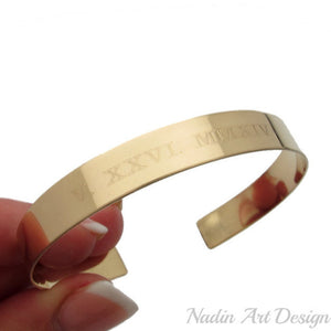 Date engraved gold cuff bracelet