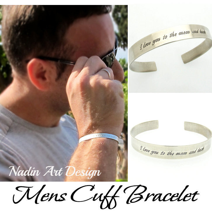 c17a62eeecaac Mens Bracelet. Custom Sterling Silver Cuff - Anniversary Gift For Men