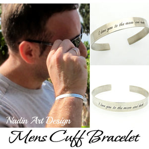 Mens Bracelet. Custom Sterling Silver Cuff - Anniversary Gift For Men