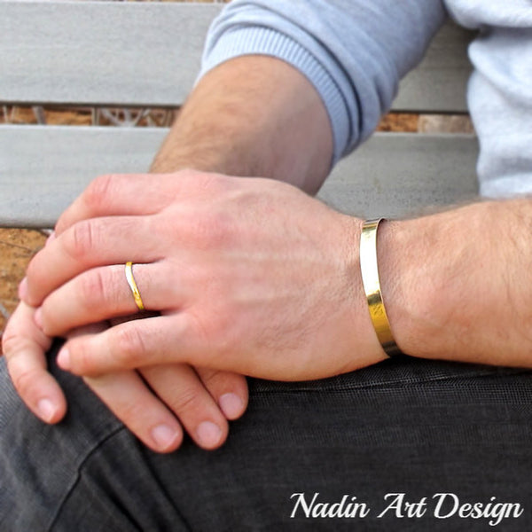 Classic gold id bracelet for men