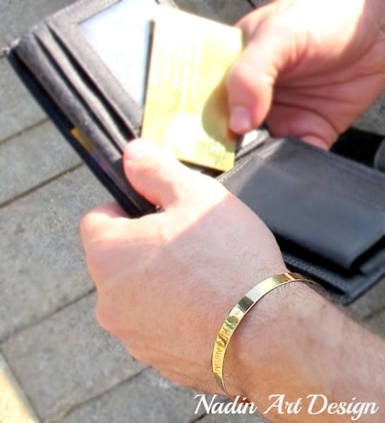 Gold Cuff Bracelet for men. Anniversary Gift for Husband
