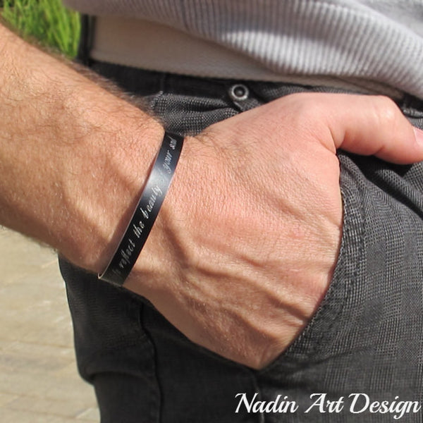 Black cuff with engraving