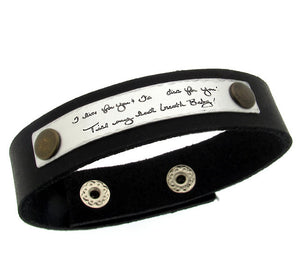 Personalized Leather Bracelet, Custom Engraved Text Cuff