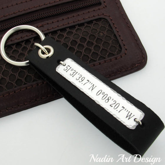 GPS engraved leather keychain for men