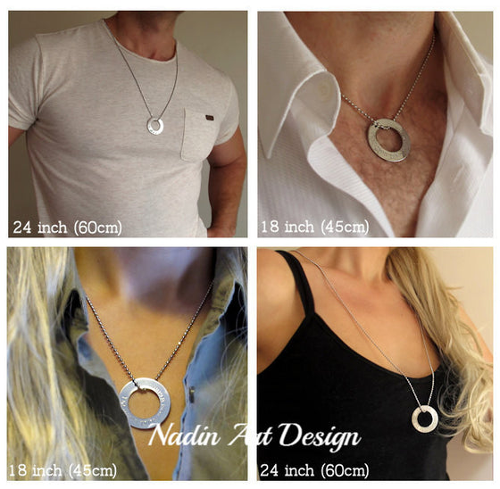 Unisex washer necklace