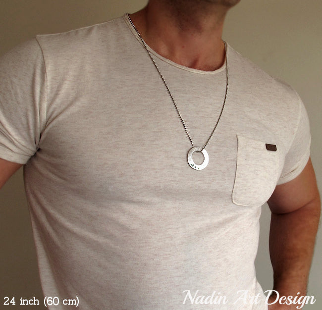 Engraved silver washer pendant necklace for men mens jewelry washer pendant necklace for men aloadofball Gallery