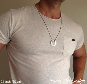 Washer pendant necklace for men