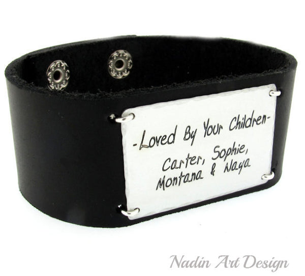 Wide quote text bracelet