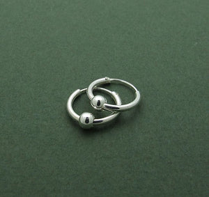 Small Sterling Silver Hoop Earrings with Beads