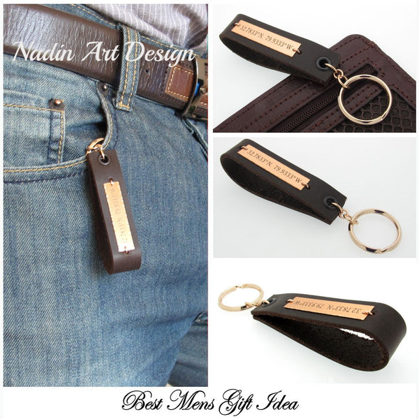 Leather Key Chain for Men - Personalized GPS Keychain