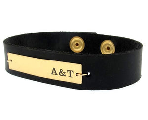 Mens ID Initial Leather Bracelet