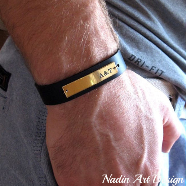 ID leather bracelet - Initial band
