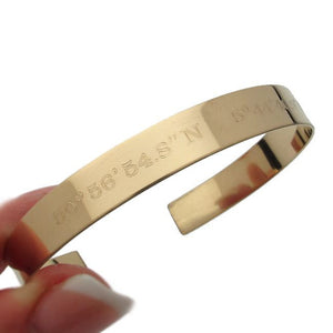 Latitude Longitude Custom Coordinates Bangle Bracelet
