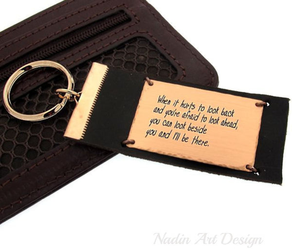 Custom quote engraved leather keychain