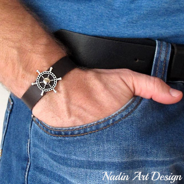 Ship Wheel Leather Bracelet for Men