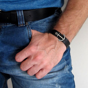 Leather Bracelet with Anchor - Mens Bracelet