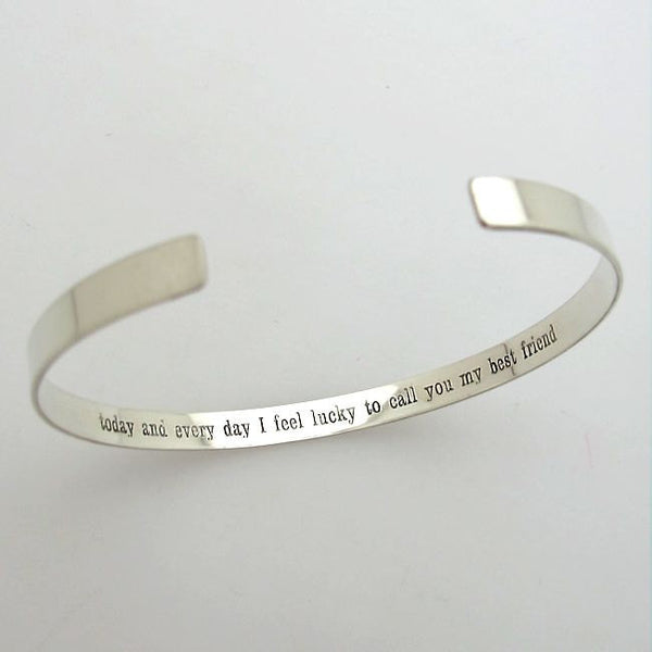 Inspirational Quote Cuff Bracelet For Her Engraved