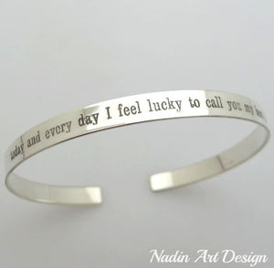 Quote engraved fine sterling silver bracelet