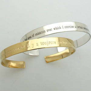Inspirational Quote Bracelet - Gold Cuff