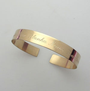 text engraved cuff bracelet in gold - custom Gold Filled Bracelet