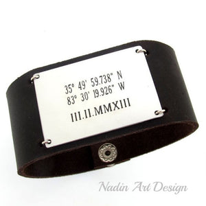 Wide leather cuff with custom engraving