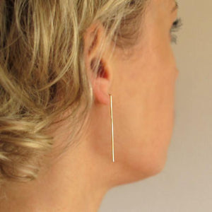 Long Bar Earrings - Gold Filled drop bar earrings