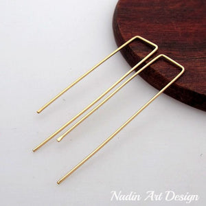Gold long threader earrings