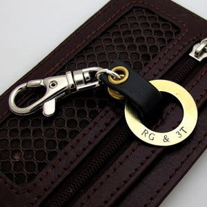Fathers Day Gift - Personalized Black Leather Keychain