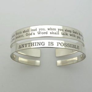 Quote Engraved Sterling Silver Cuff - Gift for Her