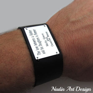 Wide leather cuff quote bracelet